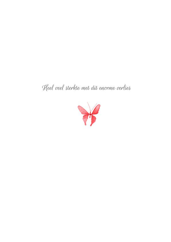 Condoleancekaart vaarwel kleine vlinder roze 3