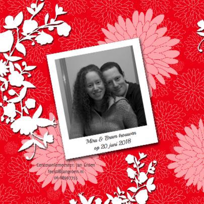 Dahlia's roze rood trouwkaart 2