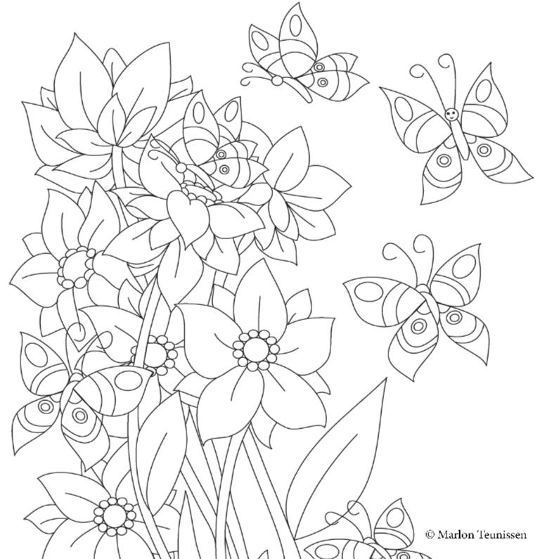 kleurplaten vlinders en bloemen