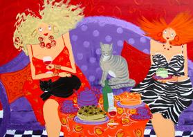 Verjaardagskaarten - Deux filles et deux chats