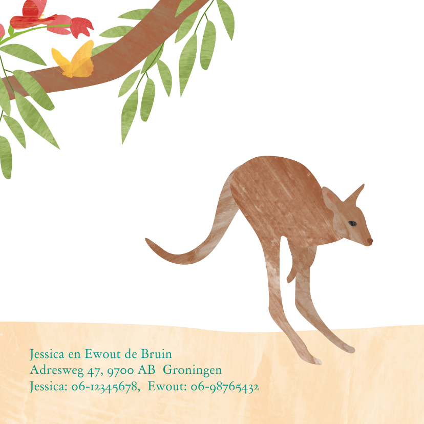 Dieren geboortekaartje kangoeroe 2