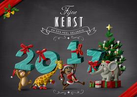 Kerstkaarten - Diertjes dragen pakjes 2017