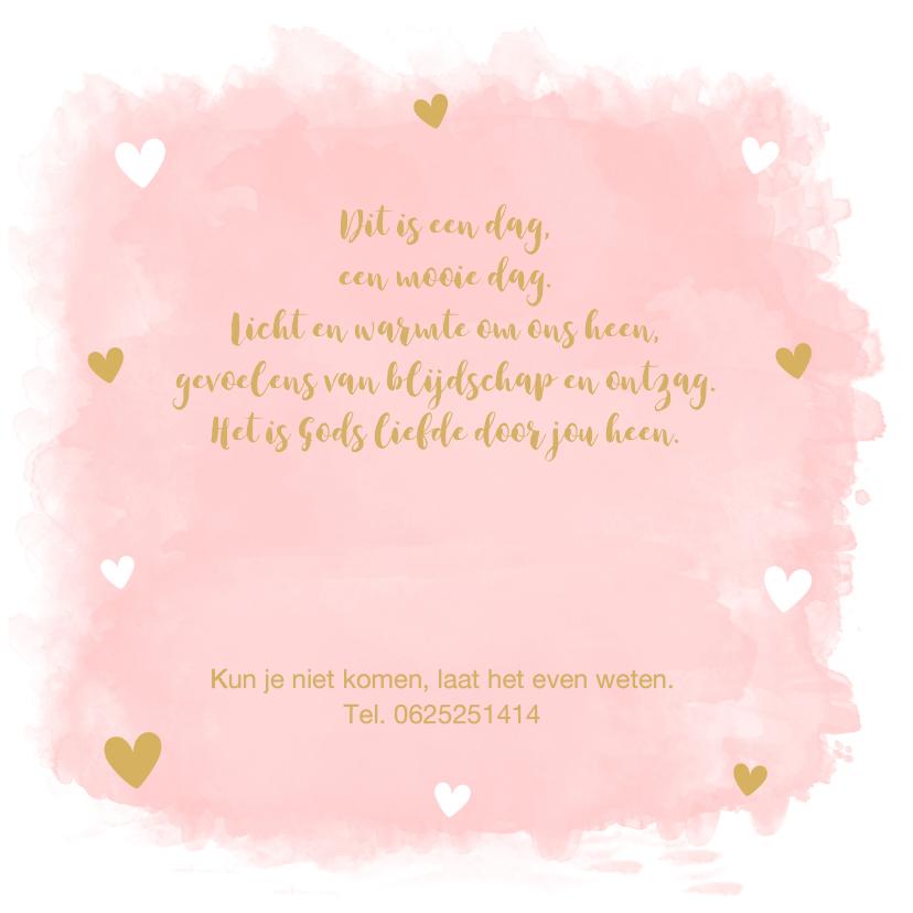 Doopkaart foto waterverf roze hartjes 2