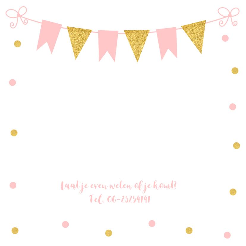 Doopkaart fotocollage confetti goud roze meisje 2
