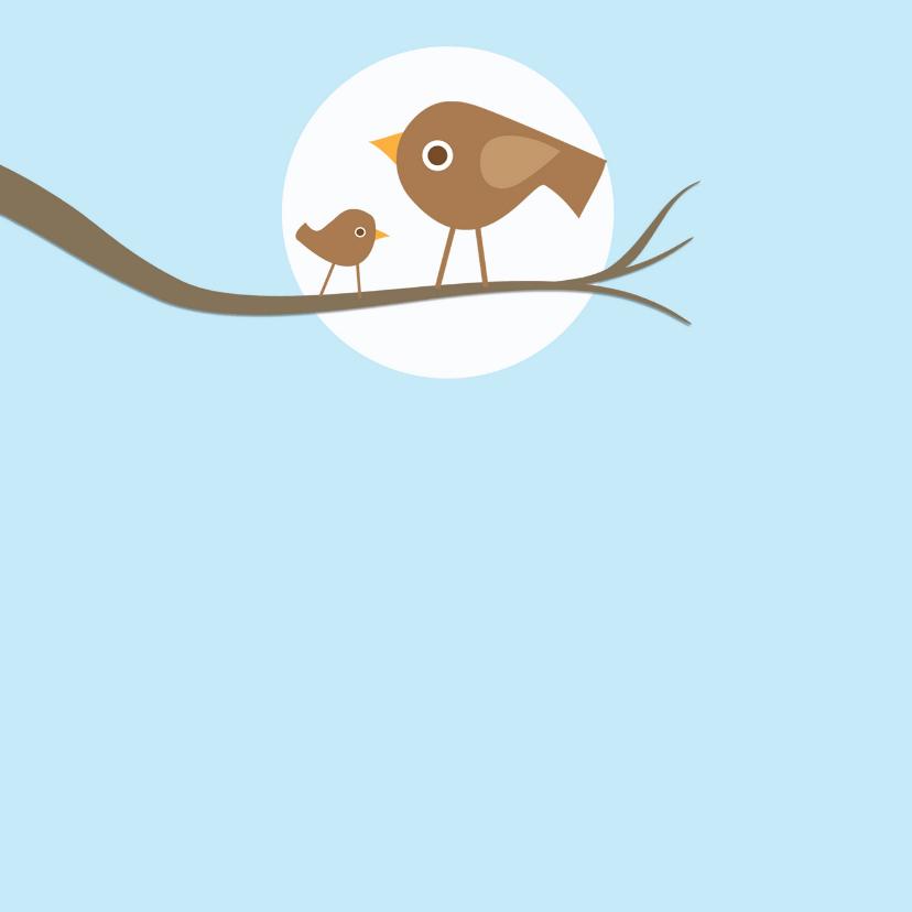 Doopkaart vogeltjes blauw 2