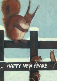 Nieuwjaarskaarten - Eekhoorn in de sneeuw