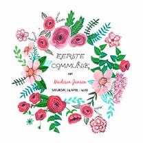 Communiekaarten - Eerste Communie Bloemen Krans