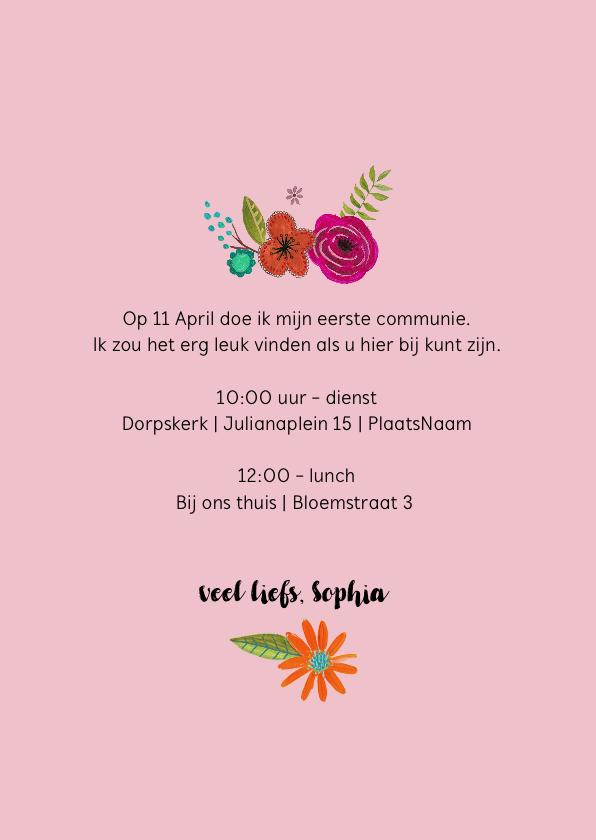 Eerste Heilige Communie uitnodiging met bloemen 3