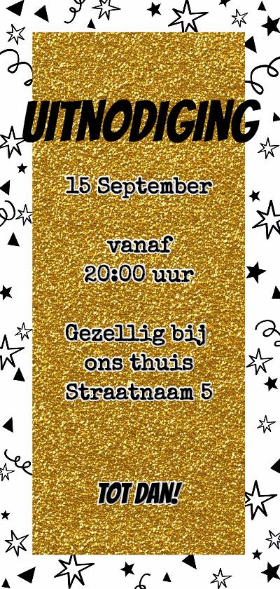 Feestelijke glitter uitnodiging confetti achterkant