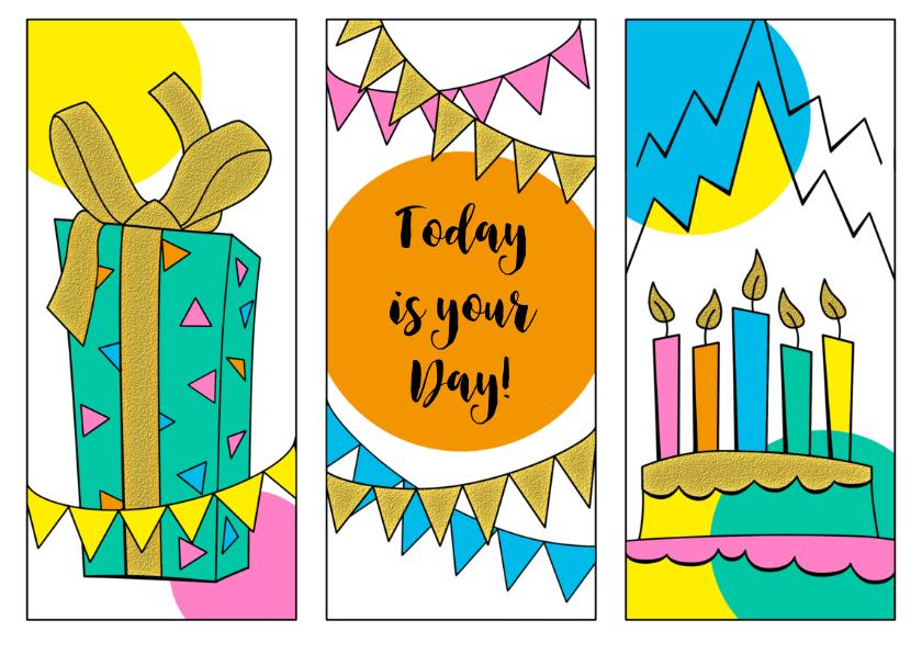 Feestelijke verjaardagskaart met grafische vormen 2