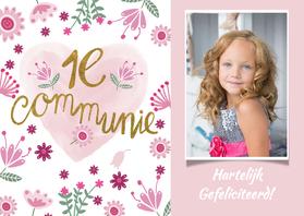Felicitatiekaarten - Felicitatie communie roze hart