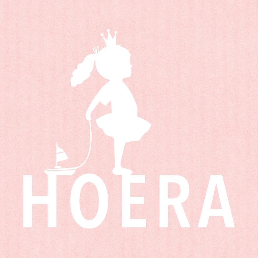 Felicitatie dochter silhouet bootje roze - MW 2