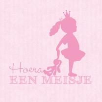 Felicitatiekaarten - Felicitatie dochter silhouet knuffel roze - MW