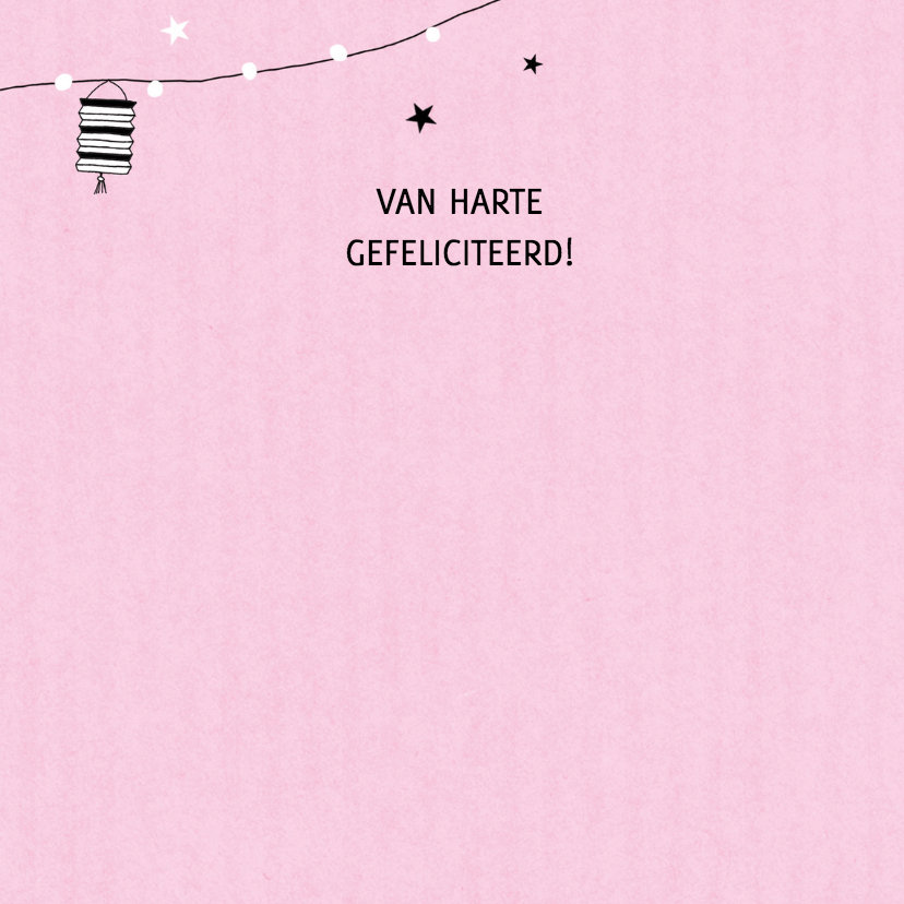 Felicitatie dochter silhouet lampion roze - MW 3