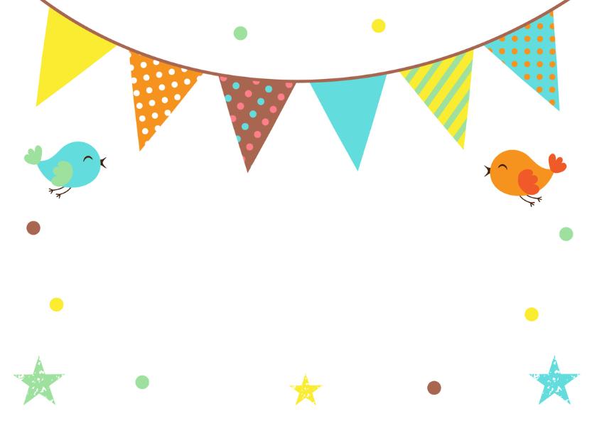 Felicitatie doopsel vlag en vogels 2