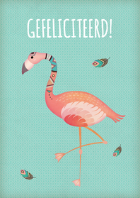 Verjaardagskaarten - Felicitatie flamingo - BK