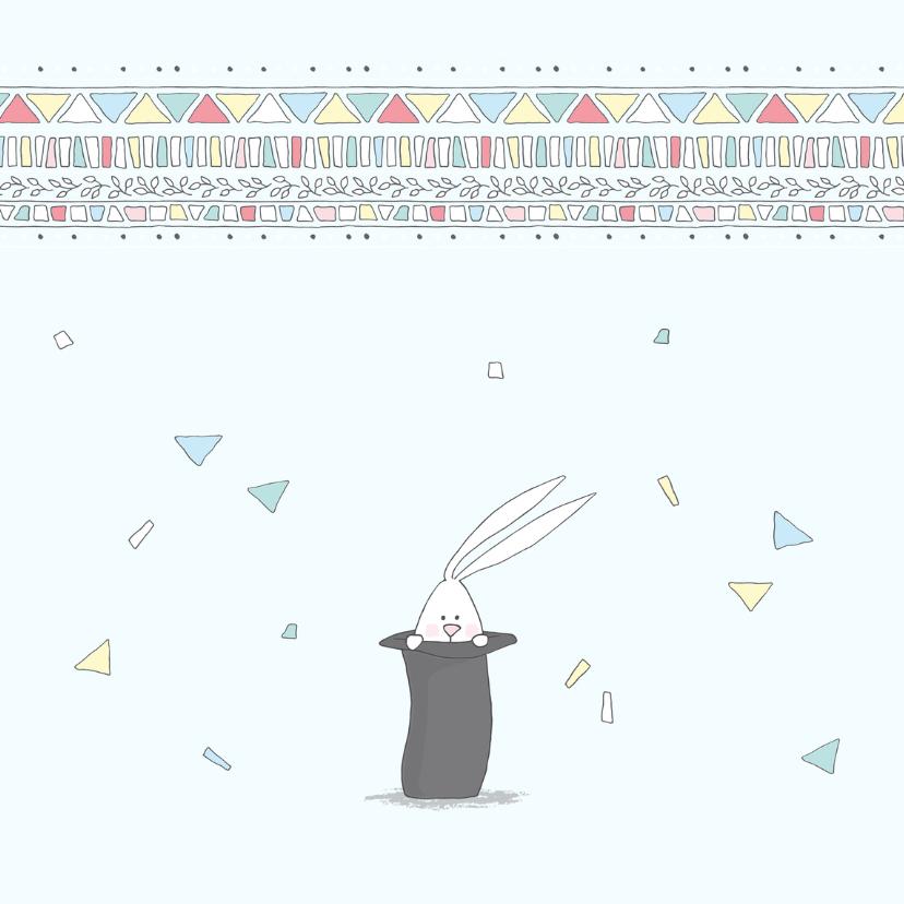 Felicitatie geboorte met konijn in hoge hoed 2