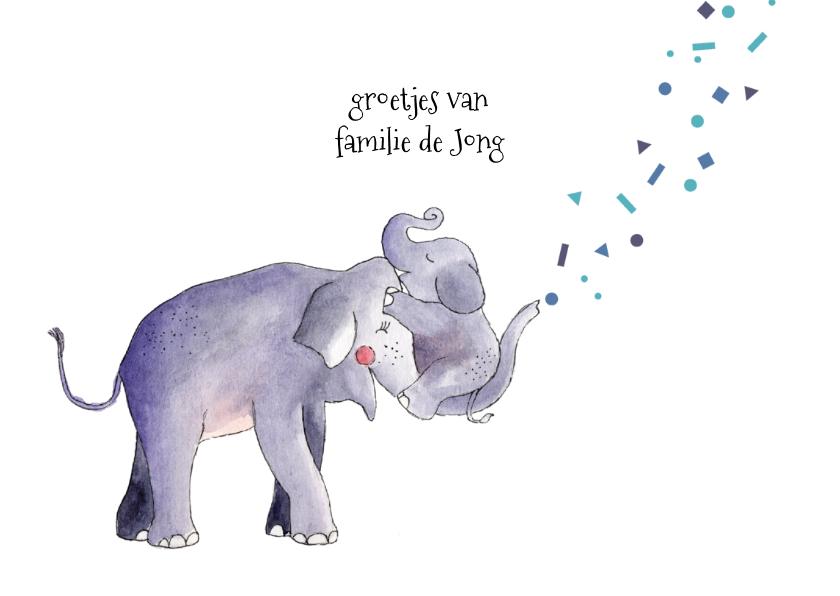 Felicitatie geboorte zoon illustratie olifant 3