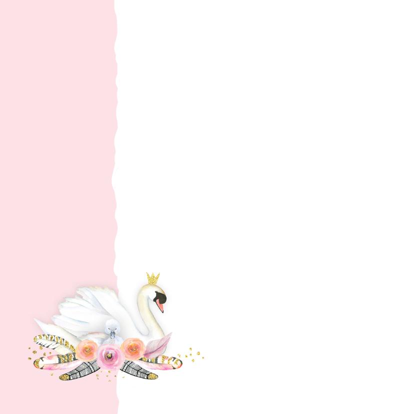 Felicitatie geboorte zwaan veren 2