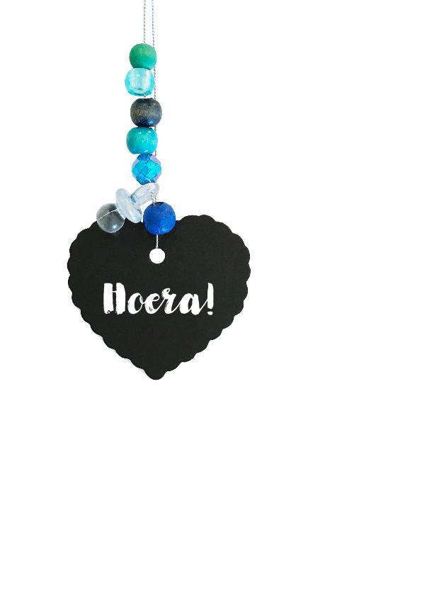 Felicitatie Geboortekaartje hart jongen blauw 2