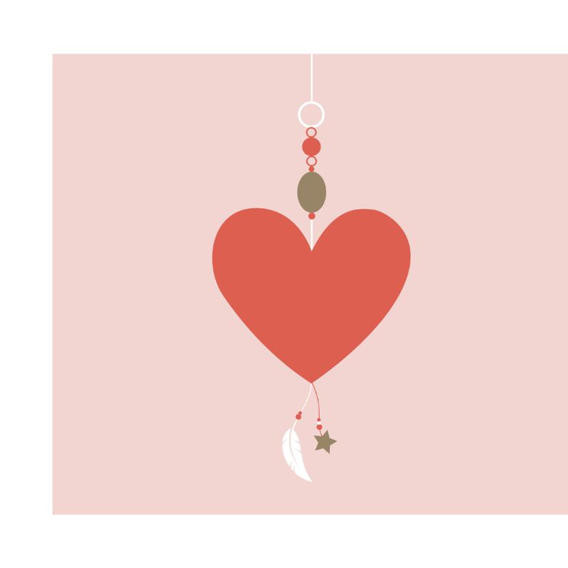 Felicitatie - hanger met hartjes en veertjes 2