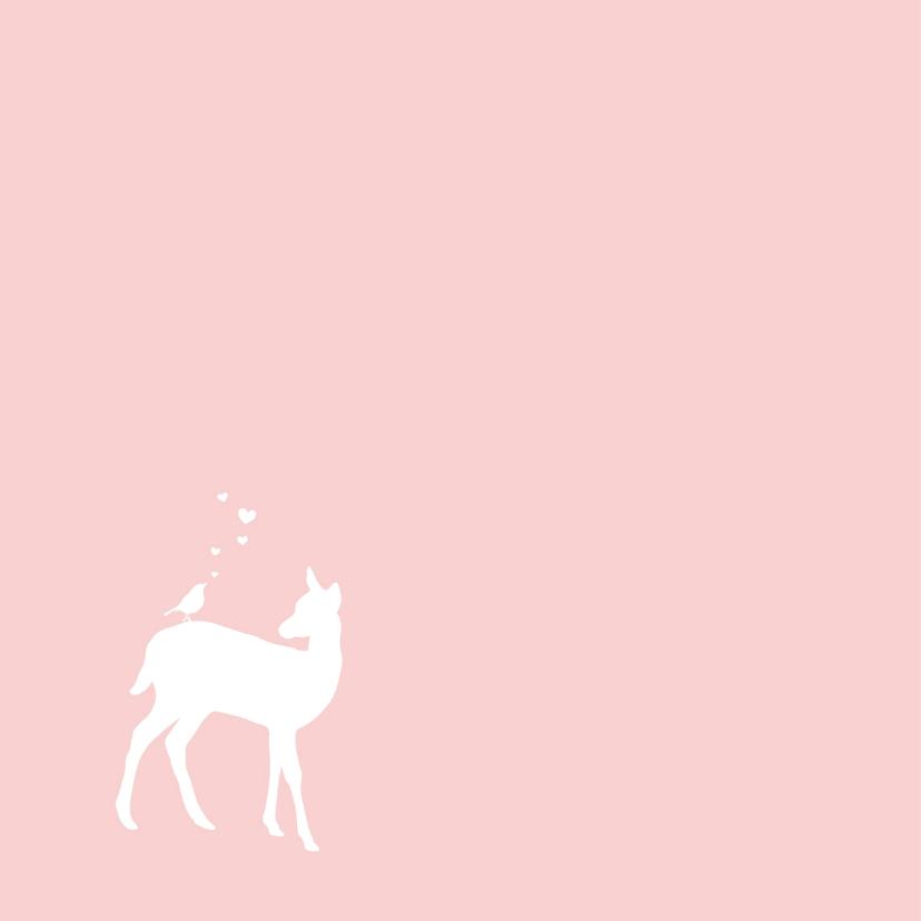 Felicitatie - Hert, meisje, roze 2