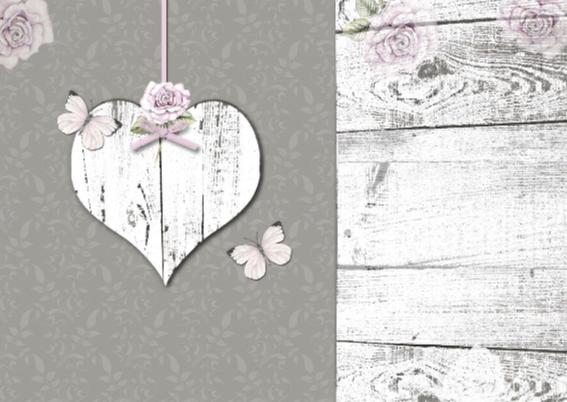 Felicitatie houten hart vlinders 2