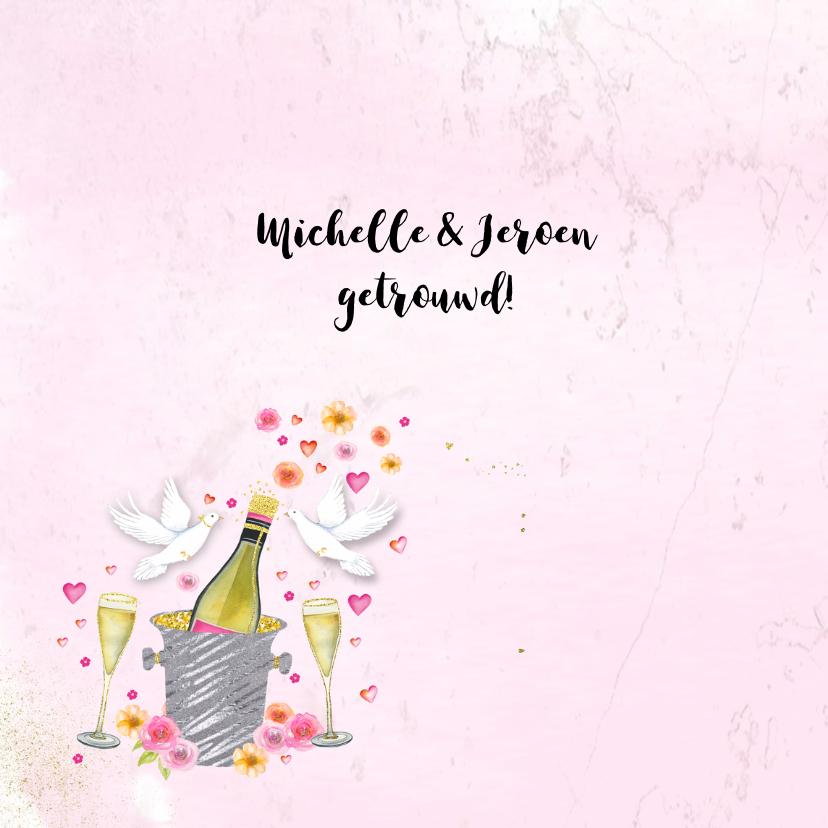 Felicitatie huwelijk champagne 2