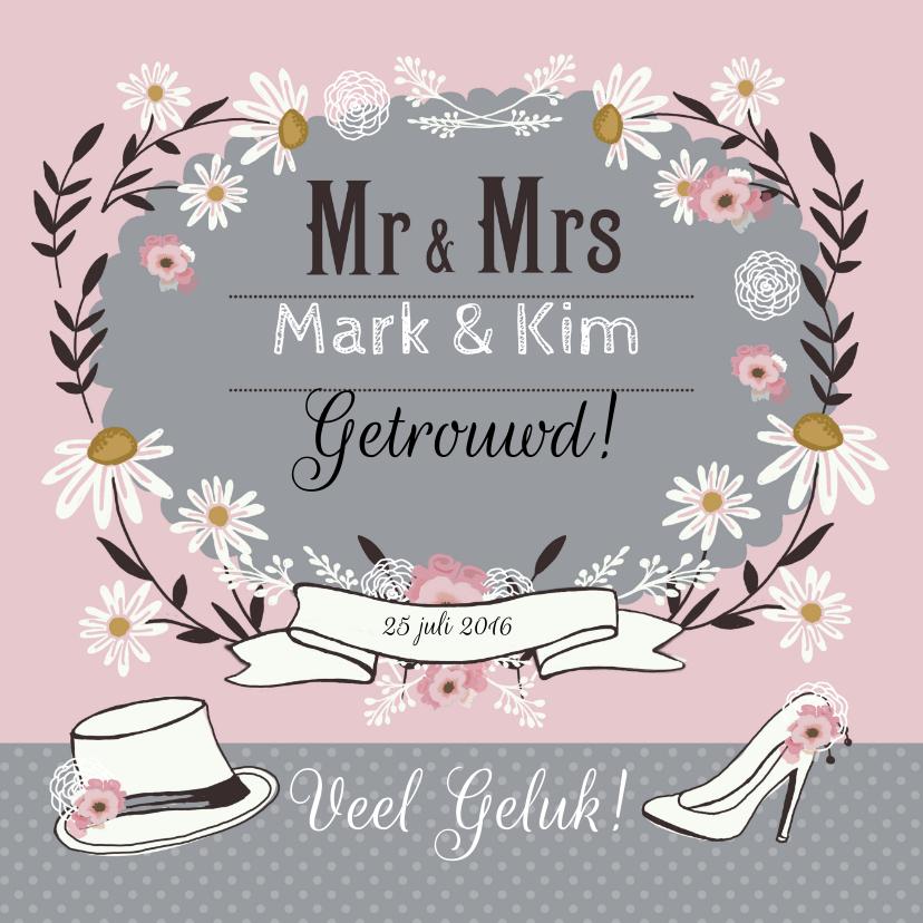 Felicitatie huwelijk retro felicitatiekaarten kaartje go