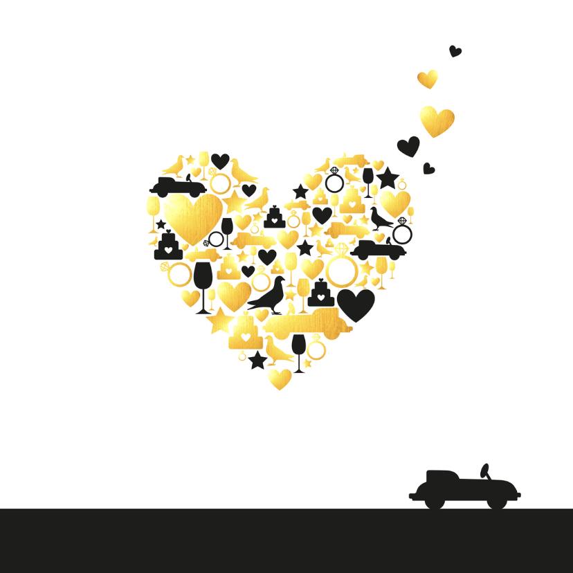 Felicitatie - Huwelijk silhouet hart met goud 2