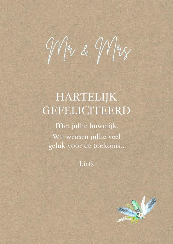 Felicitatie huwelijk veren 3