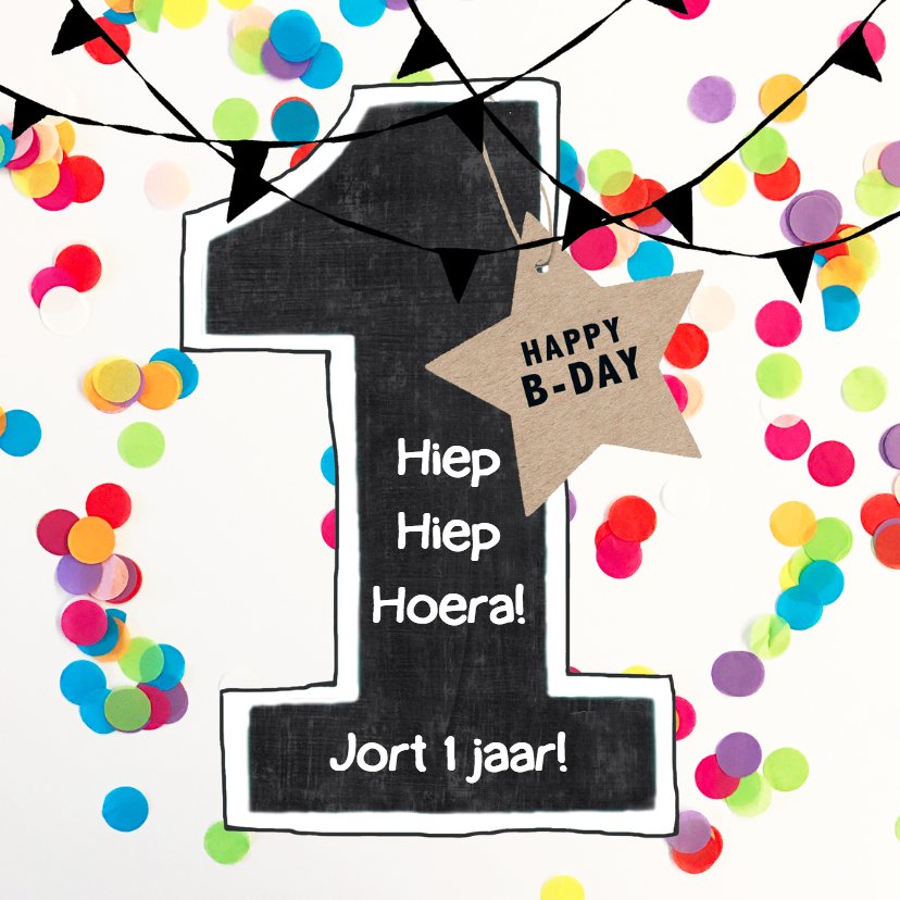 Felicitatie kaart 1 jaar confetti verjaardagskaarten for Poppenhuis kind 2 jaar