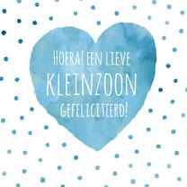 Felicitatiekaarten - Felicitatie kleinzoon blauw hart