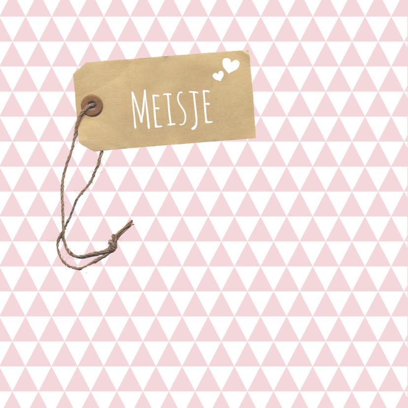 Felicitatie -Label roze driehoek 2