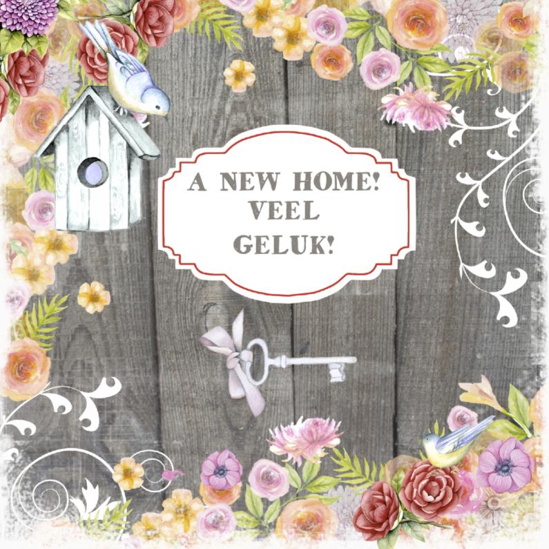Top felicitatie new home vogelhuisje - Felicitatiekaarten - Kaartje2go @OF01