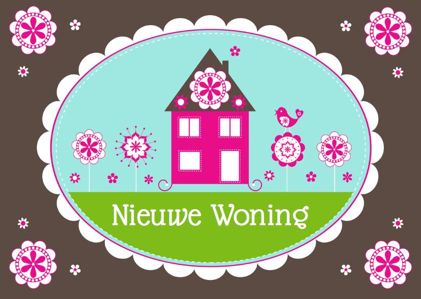 Felicitatie nieuwe woning huisje bloemen - LB 2