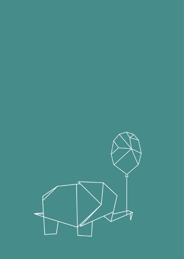 Felicitatie origami olifant  2