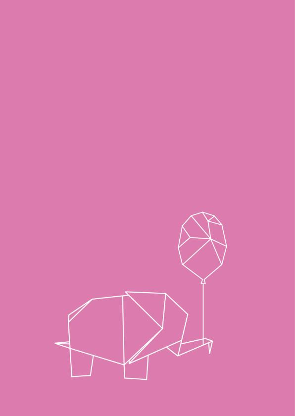 Felicitatie origami olifantje 2