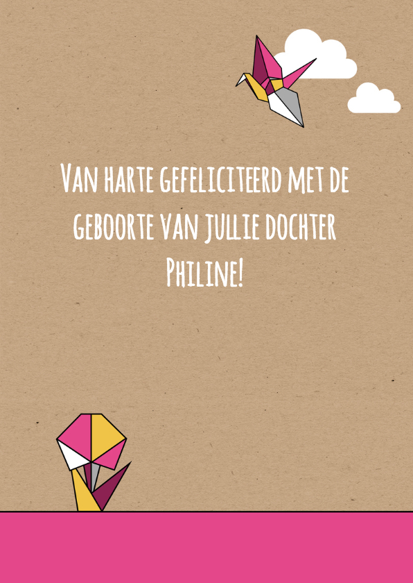 Felicitatie origami vogel meisje 3
