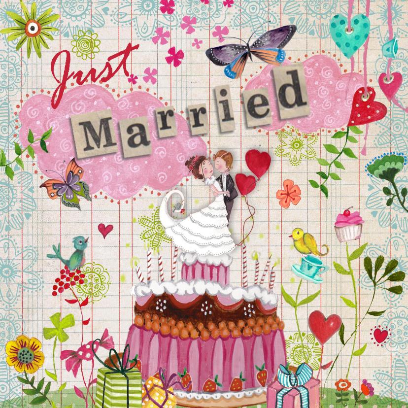 Felicitatie pas getrouwd wolken vrolijk