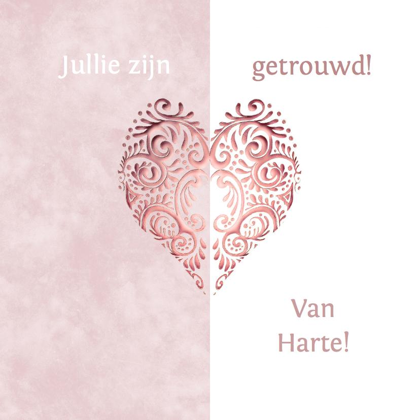 Felicitatie roze hart huwelijk felicitatiekaarten