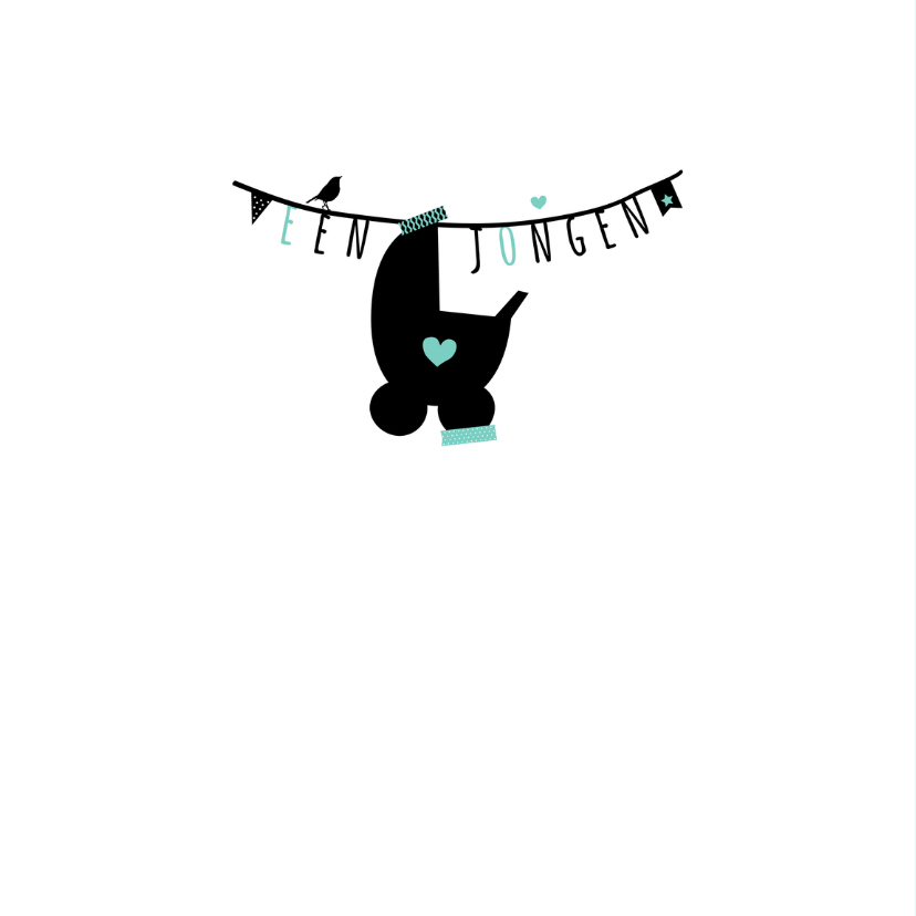 Felicitatie-Slinger, wieg, groen 2