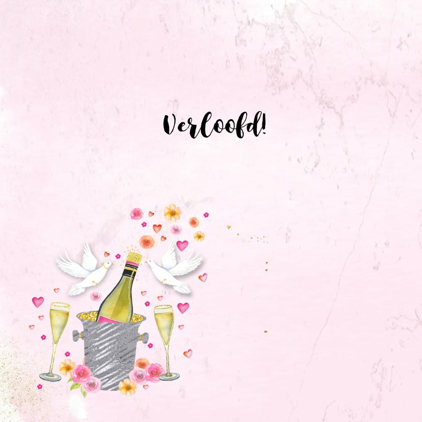 Felicitatie trouwkaart champagne 2