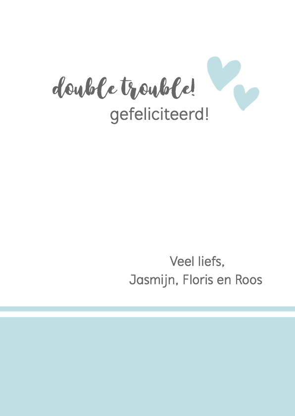 Felicitatie - tweeling hello little boys 3