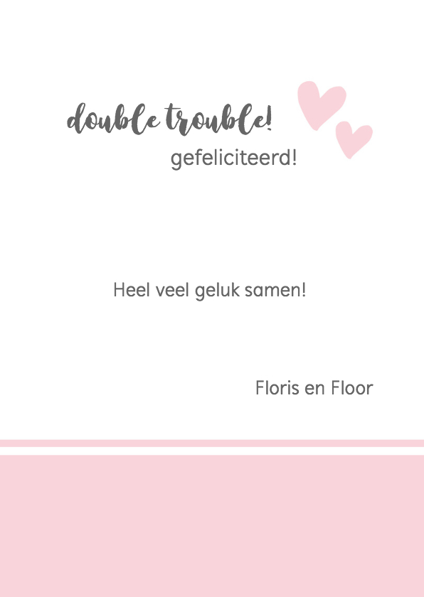 Felicitatie - tweeling hello little girls 3