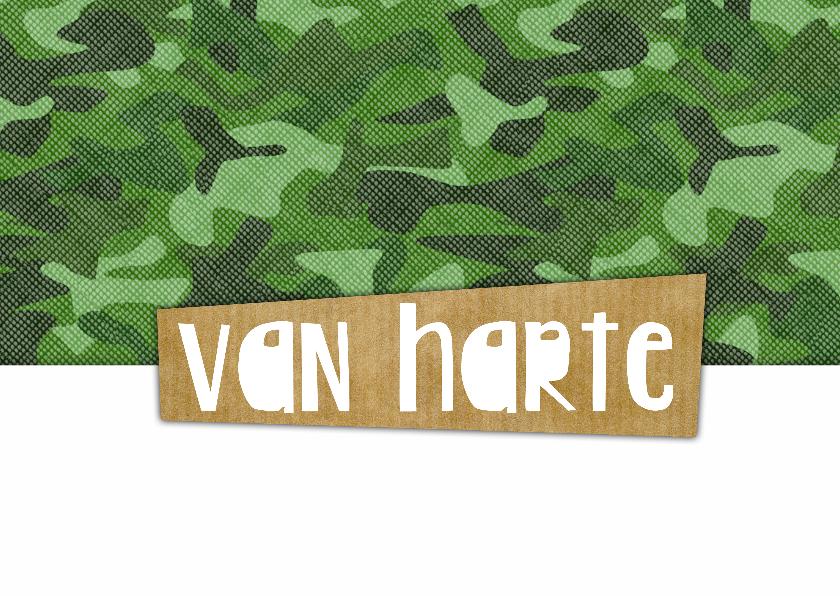 Felicitatie verjaardag camouflage speld 2