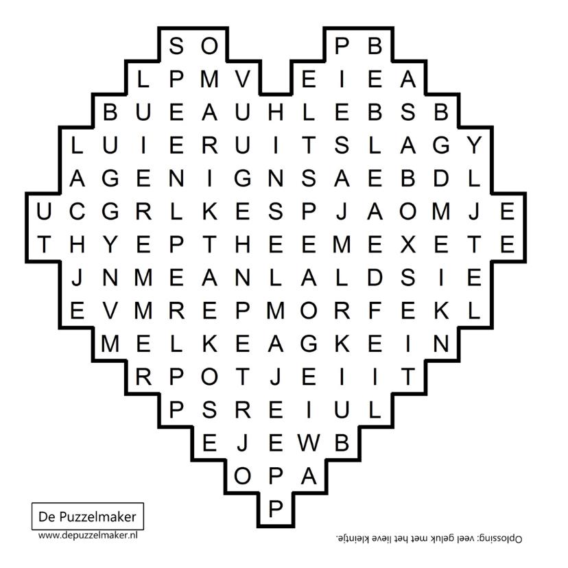 Felicitatiekaart baby geboren met woordzoeker puzzel 2
