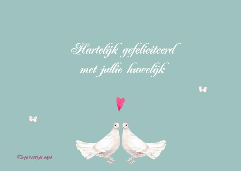 Felicitatiekaart duif huwelijk 3