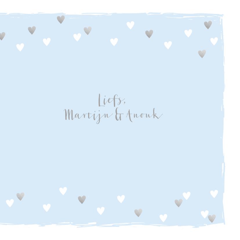 Felicitatiekaart geboorte hartjes hip lichtblauw 3