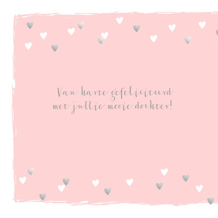 Felicitatiekaart geboorte hartjes hip roze  2